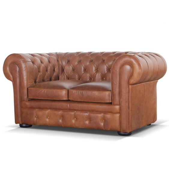 Chesterfield Ledersofa 2-Sitzer LONDON - Vintage Leder