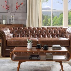 Chesterfield Ledersofa 3-Sitzer CLOTAIRE - Vintage Leder - Braun