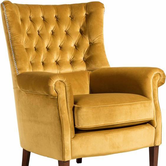 Chesterfield-Sessel, FSC®-zertifiziert, gelb, Material Buche »William«, Max Winzer®