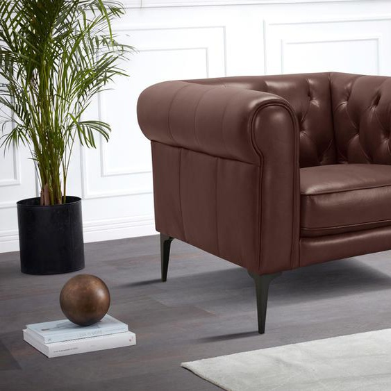 Chesterfield-Sessel »Tobol«, 105x75x92 cm (BxHxT), Premium collection by Home affaire, braun, Material Holz, Polyester, Rindsleder