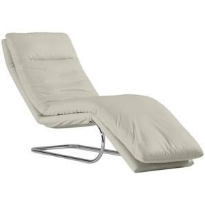 Chilliano Relaxliege Echtleder Weiß , Leder , 1-Sitzer , 65x101x158 cm
