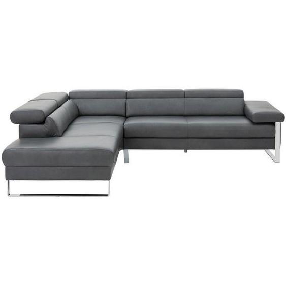 Chilliano Wohnlandschaft Grau Echtleder , Leder , Uni , 5-Sitzer , 230 cm