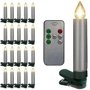 Christbaumkerzen 20er kabellos silber mit Fernbedienung LED Fading Flackern Timer