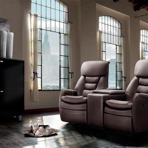 Cinema Sessel 2er mit dunkelbraun Kunstleder bezogen, Relaxfunktion  Aufbewahrungsfach u 2 Getränkehalter, Maße: B/H/T ca. 164/105/90 cm
