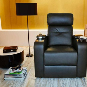 Cinema Sessel in schwarzem Kunstleder, 2 Getränkehalter, 1 Ablageplatte, 1 Stauraumfach in Armlehne, Körperdruckverstellung, Breite: ca. 83 cm