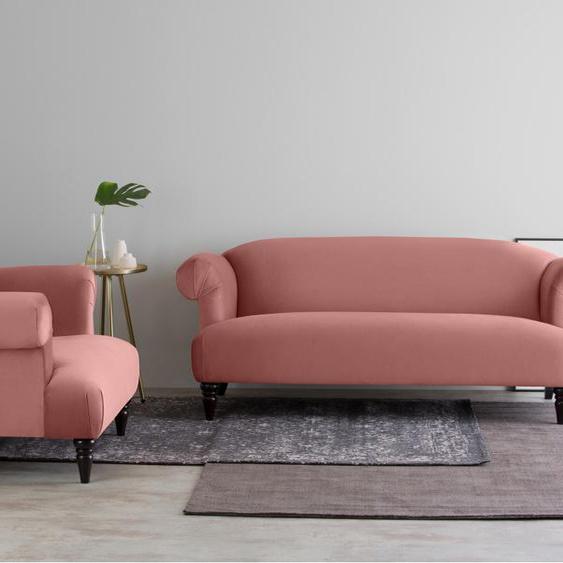 Claudia 3-Sitzer Sofa, Samt in Altrosa