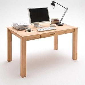 Computer Schreibtisch aus Kernbuche Massivholz 140 cm breit