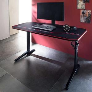 Computer Schreibtisch in Schwarz 140 cm breit