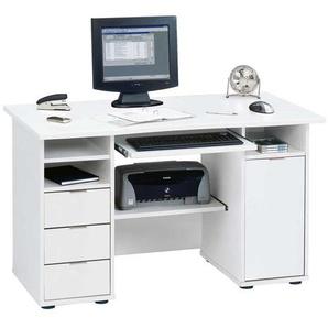 Computer Schreibtisch in Wei� mit Tastaturauszug