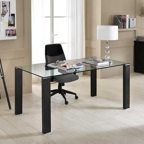 Computer Schreibtisch mit Glasplatte Schwarz