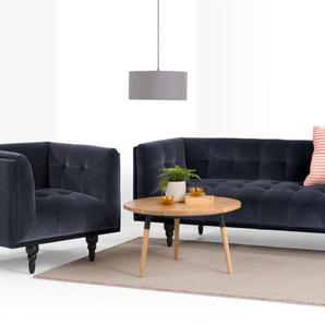 Connor 3 Seater Sofa, Navy Cotton Velvet