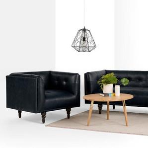 Connor 3-Sitzer Sofa, Premium-Leder in Schwarz
