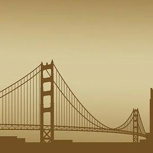 Consalnet Fototapete San Francisco - Horizont, für Küchenrückwand B/L: 2,5 m x 0,6 braun Fototapeten Tapeten Bauen Renovieren