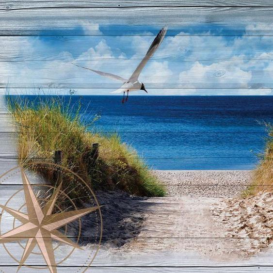Consalnet Vliestapete »Strand auf den Bretter«, verschiedene Motivgrößen, für das Büro oder Wohnzimmer