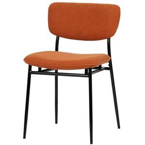 Cord Stühle in Orange Metallgestell in Schwarz (2er Set)
