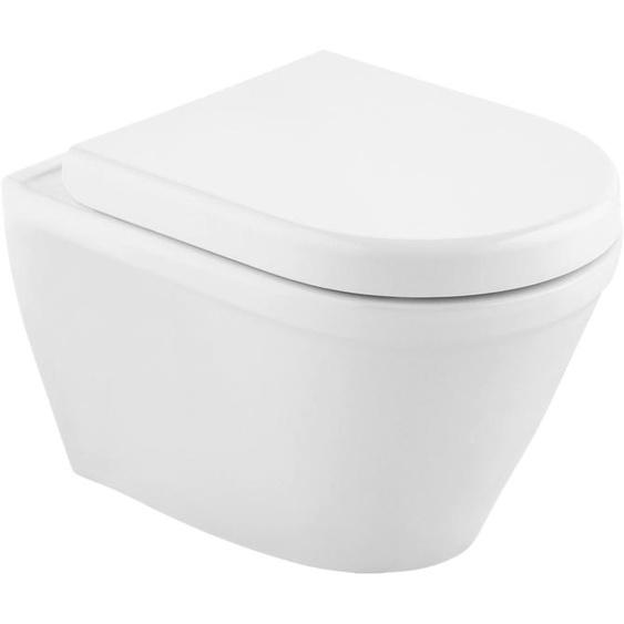 CORNAT Tiefspül-WC Trient, inkl. WC-Sitz mit Absenkautomatik Einheitsgröße weiß WC-Becken WC Bad Sanitär