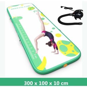 COSTWAY 300 x 100 cm Air Track, Gymnastikmatte aufblasbar, Tumbling Matte, Air Bodenschutzmatte, Trainingsmatte, Weichbodenmatte, Turnmatte, Fitnessmatte, Yogamatte inkl. elektrischer Pumpe