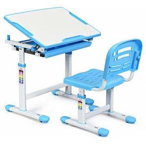 COSTWAY Kinderschreibtisch hoehenverstellbar, Schuelerschreibtisch Kindermoebel neigungsverstellbar, Kindertisch mit Stuhl, Schreibtisch Kinder,Blau