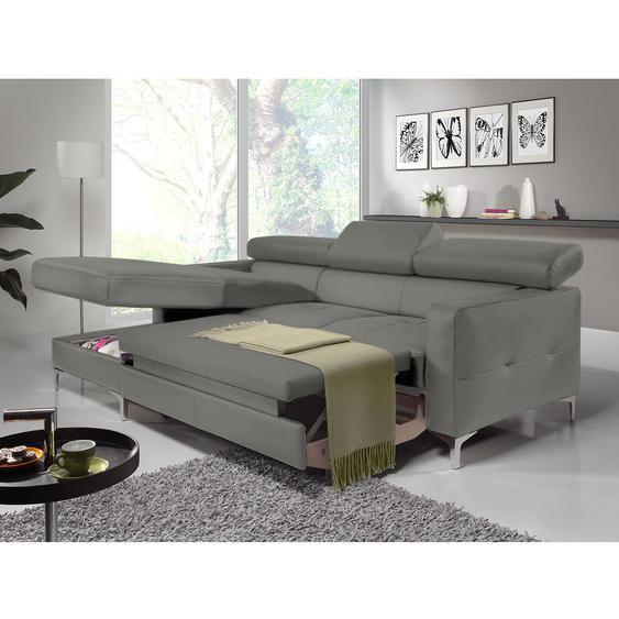 Cotta Ecksofa Eduardo 2-Sitzer Dunkelgrau Kunstleder 226x74x169 cm (BxHxT) mit Schlaffunktion/Bettkasten Modern