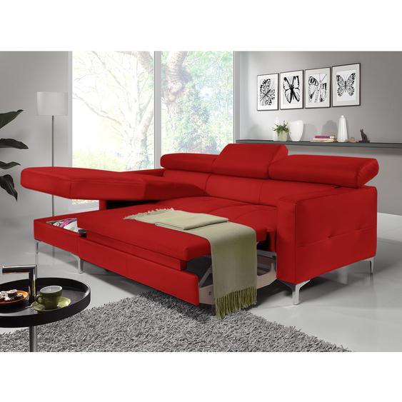 Cotta Ecksofa Eduardo 2-Sitzer Rot Kunstleder 226x74x169 cm (BxHxT) mit Schlaffunktion/Bettkasten Modern