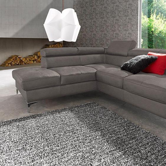 Ecksofa, mit Bettfunktion, FSC®-zertifiziert, grau, Material Holzwerkstoff, mit Schlaffunktion, mit Kopfstütze