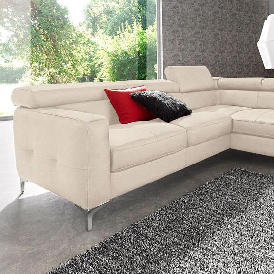 COTTA Ecksofa, mit Bettfunktion, FSC®-zertifiziert, beige, Material Holzwerkstoff, mit Schlaffunktion, mit Kopfstütze