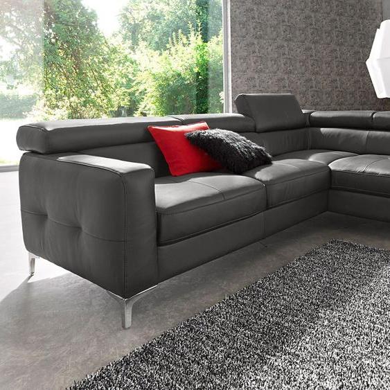 COTTA Ecksofa, mit Bettfunktion, FSC®-zertifiziert, grau, Material Holzwerkstoff, mit Schlaffunktion, mit Kopfstütze