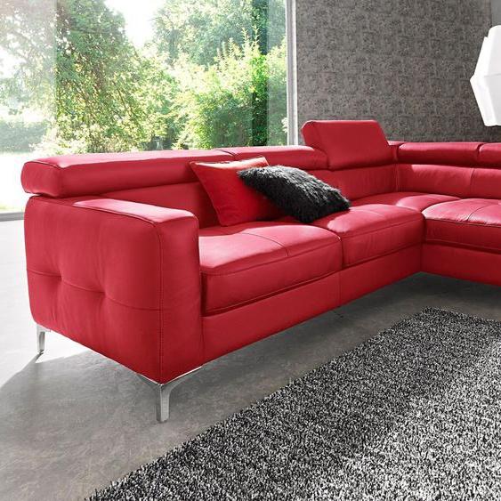 COTTA Ecksofa, mit Bettfunktion, FSC®-zertifiziert, rot, Material Holzwerkstoff, mit Schlaffunktion, mit Kopfstütze