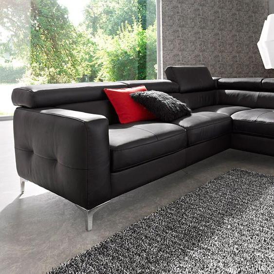 Ecksofa, mit Bettfunktion, FSC®-zertifiziert, schwarz, Material Holzwerkstoff, mit Schlaffunktion, mit Kopfstütze