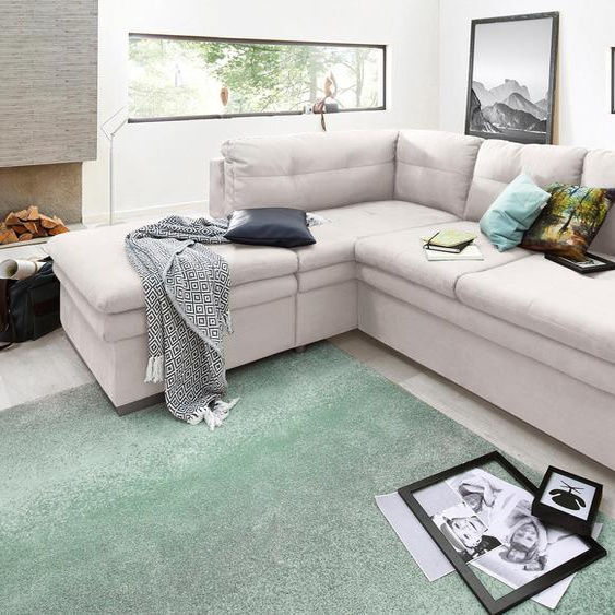 Ecksofa, mit Bettfunktion, Ottomane rechts oder links, FSC®-zertifiziert, beige, Material Holzwerkstoff, mit Bettkasten, mit Schlaffunktion, mit Armlehnenverstellung