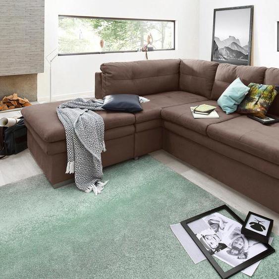 COTTA Ecksofa, mit Bettfunktion, Ottomane rechts oder links, FSC®-zertifiziert, braun, Material Holzwerkstoff, mit Schlaffunktion, mit Armlehnenverstellung