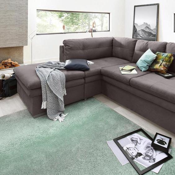 Ecksofa, mit Bettfunktion, Ottomane rechts oder links, FSC®-zertifiziert, grau, Material Holzwerkstoff, mit Schlaffunktion, mit Armlehnenverstellung