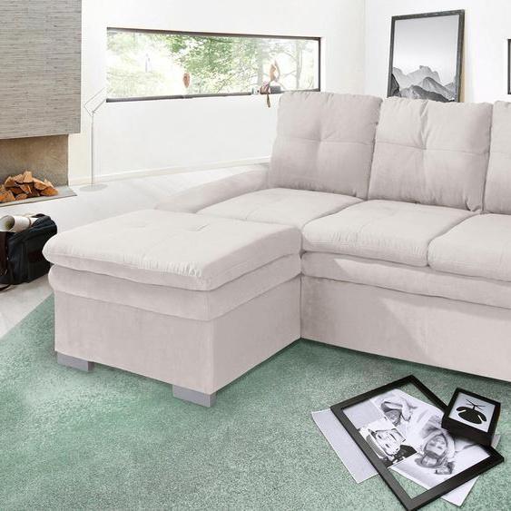 Ecksofa, mit Bettfunktion, Récamiere rechts oder links, FSC®-zertifiziert, beige, Material Holzwerkstoff, mit Schlaffunktion, mit Armlehnenverstellung