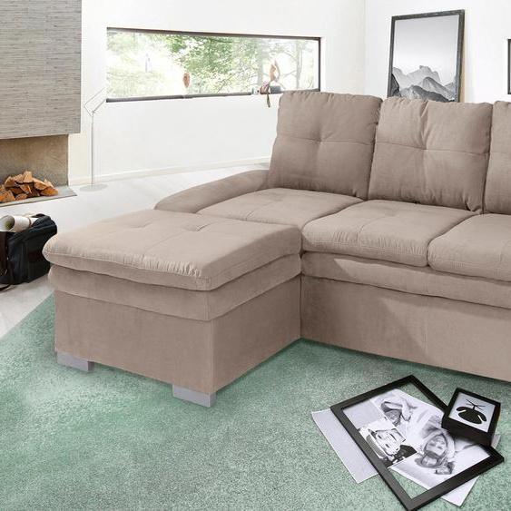 Ecksofa, mit Bettfunktion, Récamiere rechts oder links, FSC®-zertifiziert, braun, Material Holzwerkstoff, mit Schlaffunktion, mit Armlehnenverstellung