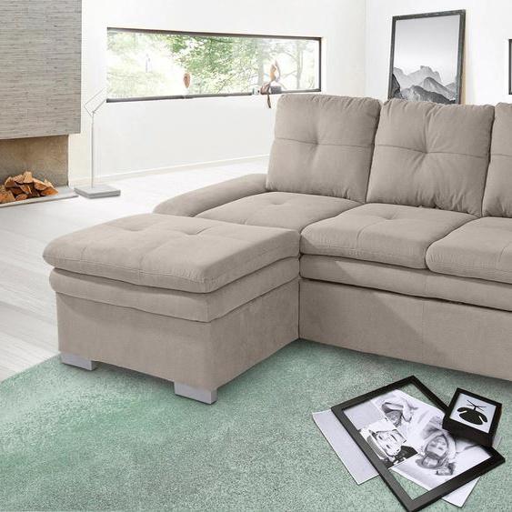 Ecksofa, mit Bettfunktion, Récamiere rechts oder links, FSC®-zertifiziert, braun, Material Holzwerkstoff, mit Bettkasten, mit Schlaffunktion, mit Armlehnenverstellung