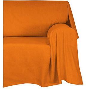 Cotton & Color Tagesdecke/Überwurf aus Baumwolle, 180 x 270 x 1 cm, Orange Modern 270x270x1 cm Arancio