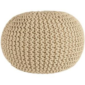 Cotton - Strickpouf, handgearbeitetes Sitzkissen aus Baumwolle, Creme, Ø55 cm