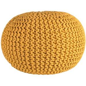 Cotton - Strickpouf, handgearbeitetes Sitzkissen aus Baumwolle, Curry, Ø55 cm