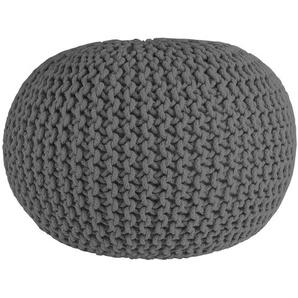 Cotton - Strickpouf, handgearbeitetes Sitzkissen aus Baumwolle, Grau, Ø55 cm
