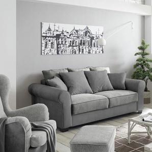 Couch Caline 2-Sitzer Vintage Grau Velour mit Kissen, Schlafsofas