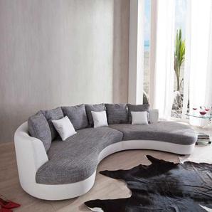 Couch in U-Form Wei� Grau