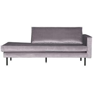 Couch Recamiere in Hellgrau Samtbezug