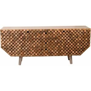 Home affaire Sideboard »Crookston«, mit wunderschönen Fräsungen im kleinen Schachbrettmuster-Look, Breite 177 cm