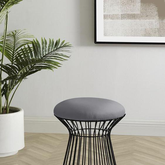 COUCH♥ Sitzhocker Strebsam, gepolsterte Sitzfläche B/H/T: 38 cm x 48,5 cm, Luxus-Microfaser grau Hocker