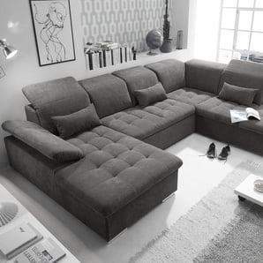 Couch WAYNE R Sofa Schlafcouch Wohnlandschaft Schlaffunktion braunschwarz U-Form