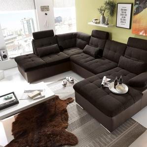 Couch Wohnlandschaft Schlaffunktion Schlafsofa braun schwarz Ottomane links