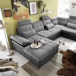 Couch Wohnlandschaft Schlaffunktion Schlafsofa schwarz grau hell Ottomane rechts