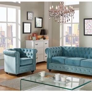 Couchgarnitur 3+1 Samt Chesterfield ANNA - Blau