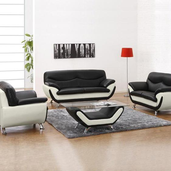 Couchgarnitur 3+2+1 Indiz - Schwarz & Weiß