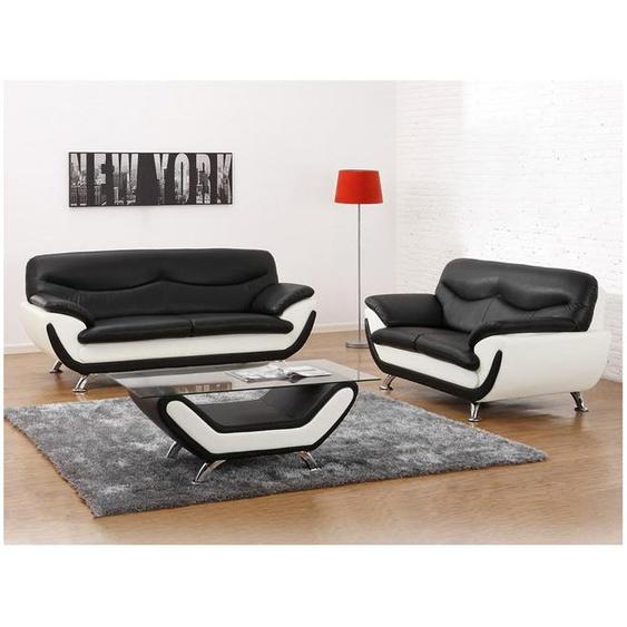 Couchgarnitur 3+2 Indiz - Schwarz & Weiß